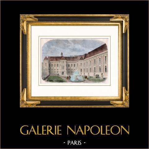 História e Monumentos de Paris - Palais Mazarin - Biblioteca Nacional da França | Gravura em madeira original (xilogravura) desenhada por Théron, gravada por Trichon. Aquarelada a mão. 1880