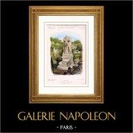 Monumenti di Parigi - Monumento Funerario - Cimitero Montparnasse (Caligny) | Incisione su acciaio originale disegnata da Rivoalen. Acquerellata a mano. 1882