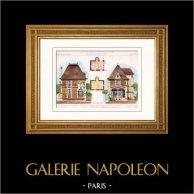 Habitation pour concierge à Biarritz - Pyrénées-Atlantiques - France (Roux) | Gravure sur acier originale dessinée par Rivoalen. Aquarellée à la main. 1882