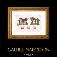 Habitation pour concierge à Châtillon d'Azergues - Châtillon - Rhône - France (Bissuel) | Gravure sur acier originale. Anonyme. Aquarellée à la main. 1882