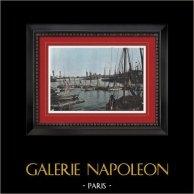 Port d'Ostende - Flandre (Belgique) | Gravure en photochromie originale de Gillot. 1890