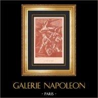Nudo Maschio - Inferno - La Caduta degli Angeli | Incisione a bulino su acciaio originale secondo Flatters incisa da Gelee. 1863