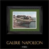 Vista de Belle-Île-en-Mer - Ciudadela del Palacio - Bretaña (Morbihan - Francia) | Original fotocromo grabado grabado por Gillot. 1890
