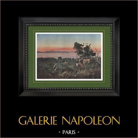 Vue de la Baie Sainte-Marie (Nouvelle-Calédonie - France) | Gravure en photochromie originale gravée par Gillot. 1890