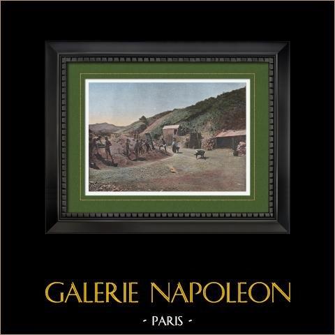Mines de Nickel (Nouvelle-Calédonie - France) | Gravure en photochromie originale gravée par Gillot. 1890