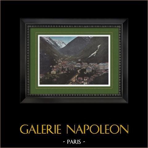 Vue de Cauterets - Midi-Pyrénées (Hautes-Pyrénées - France) | Gravure en photochromie originale gravée par Gillot. 1890