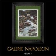 Vue de Cauterets - Midi-Pyrénées (Hautes-Pyrénées - France) - Cascade du Petit Saint-Sauveur | Gravure en photochromie originale gravée par Gillot. 1890