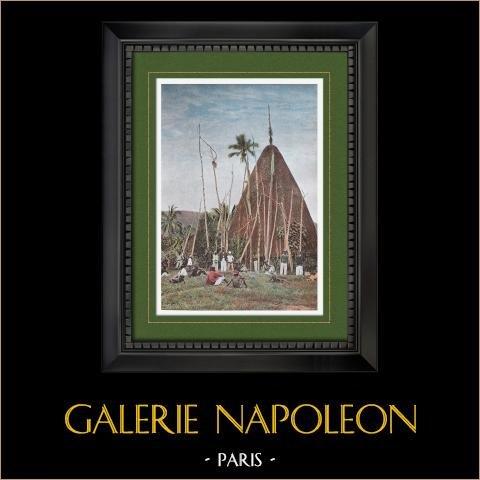 Nueva Caledonia - Choza del Jefe Gélima - Nakety - Territorio de Ultramar (Francia) | Original fotocromo grabado grabado por Gillot. 1890