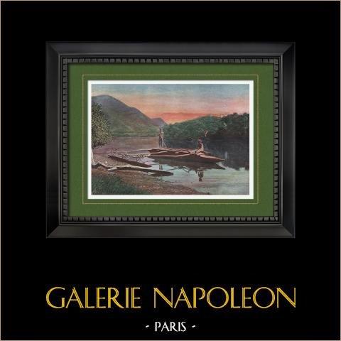 Nouvelle-Calédonie - Pirogue sur la rivière de Moneo - Territoire d'Outre-Mer (France) | Gravure en photochromie originale gravée par Gillot. 1890