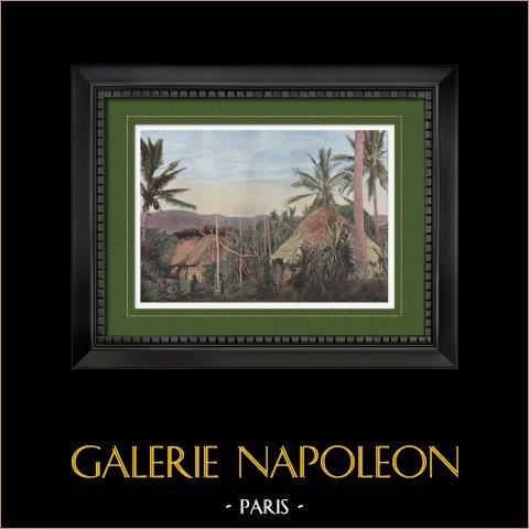 Nouvelle-Calédonie - Case du village de Moneo - Territoire d'Outre-Mer (France) | Gravure en photochromie originale gravée par Gillot. 1890