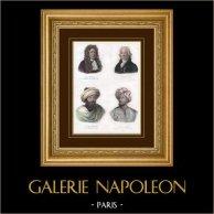 Portraits - Jean Chardin - P. Simon Pallas - Louis Burckhardt - Richard Lemon Lander | Gravure au burin sur acier originale. Anonyme. Aquarellée à la main. 1839