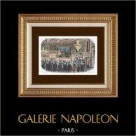 History and Monuments of Paris - The Hôtel de Ville - Paris City Hall before its Destruction - Salon de l'Horloge | Original wood engraving. Anonymous. Hand watercolored. 1880