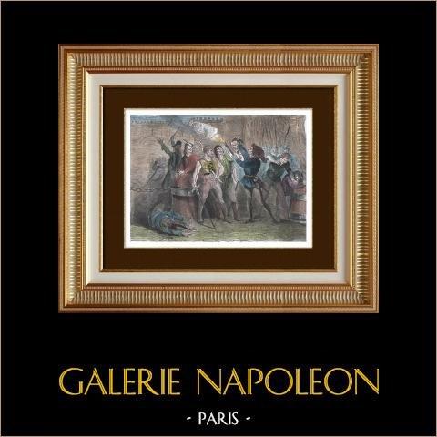 Un Cabochien présente au Boureau Capeluche la Tête du Chancelier de Marle (1407) | Gravure sur bois originale dessinée par Dumont, gravée par Castelli. Aquarellée à la main. 1880