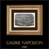 Paris et son Mur d'Enceinte sous le Règne de Philippe Auguste | Gravure sur bois originale dessinée par Champin, gravée par Leloir. Aquarellée à la main. 1880