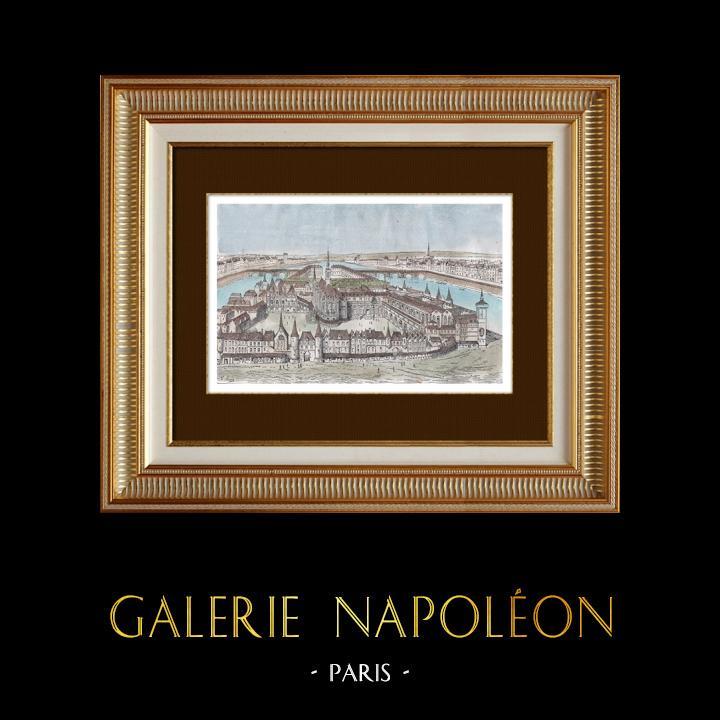 Gravures Anciennes & Dessins   Vue d'ensemble du Palais de Justice de Paris au XIIIème Siècle   Gravure sur bois   1880