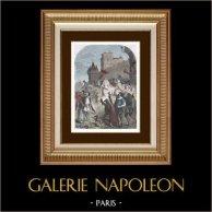 Entrée de Blanche de Castille dans Paris - Régence - Louis IX | Gravure sur bois originale dessinée par Gerard. Aquarellée à la main. 1880