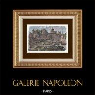 Histoire de Paris - Cirque Gallo-romain - Rue Monge | Gravure sur bois originale dessinée par Normand, gravée par Cossin-Sweeton. Aquarellée à la main. 1880