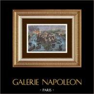 Histoire de Paris - Invasion des Normands en 845 | Gravure sur bois originale dessinée par Sjablo, gravée par Eriz. Aquarellée à la main. 1880