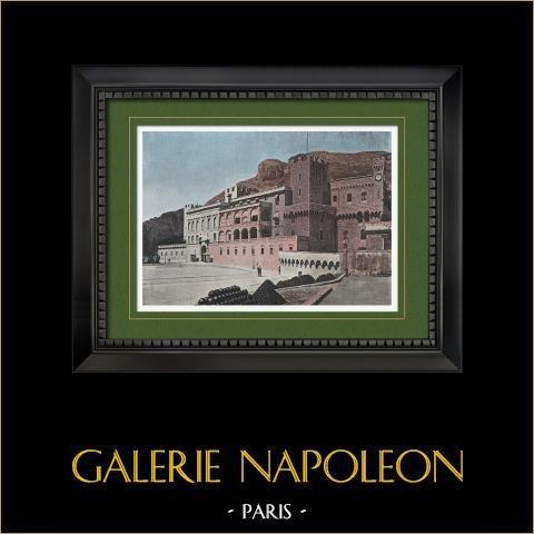 Frankrike - Franska Rivieran - Côte d'Azur - Provence - Furstendömet Monaco - Le Rocher - Palats av Prins | Original photochrom stick graverade av Gillot. 1890