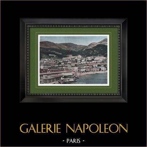 Principado de Mónaco - Barrio - La Condamine | Original fotocromo grabado grabado por Gillot. 1890