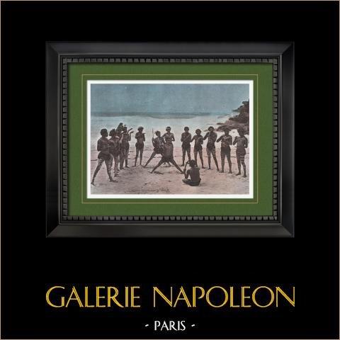 Papua Nuova Guinea - Ballerini Papueni | Stampa fotocromia originale incisa da Gillot. 1890