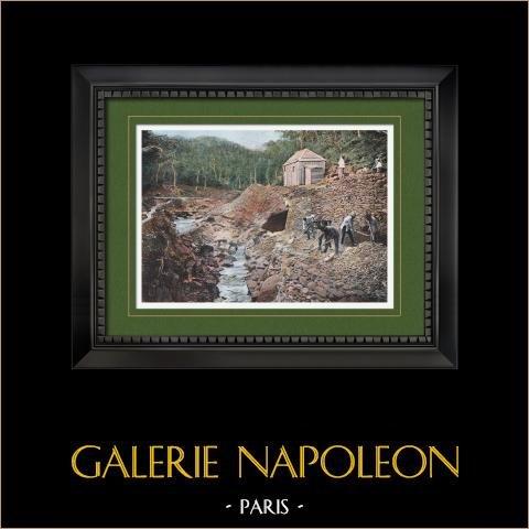 Nouvelle-Calédonie - Mine de Cuivre de Balade (France) | Gravure en photochromie originale gravée par Gillot. 1890