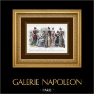 Gravure de Mode - Paris - 1892 - Mademoiselle Thirion - Madame Emma Guelle - Madame Taskin