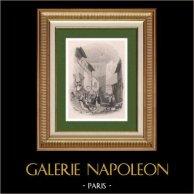 Vue de Villeneuve-lès-Avignon - Languedoc-Roussillon - Gard (France) | Gravure au burin sur acier originale dessinée par J.D. Harding, gravée par James B. Allen. 1833