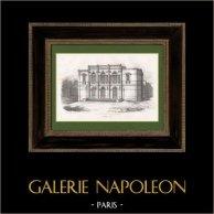Salle de Spectacle de Moulins - Allier - Auvergne (France) | Lithographie originale dessinée par Montillet. 1852