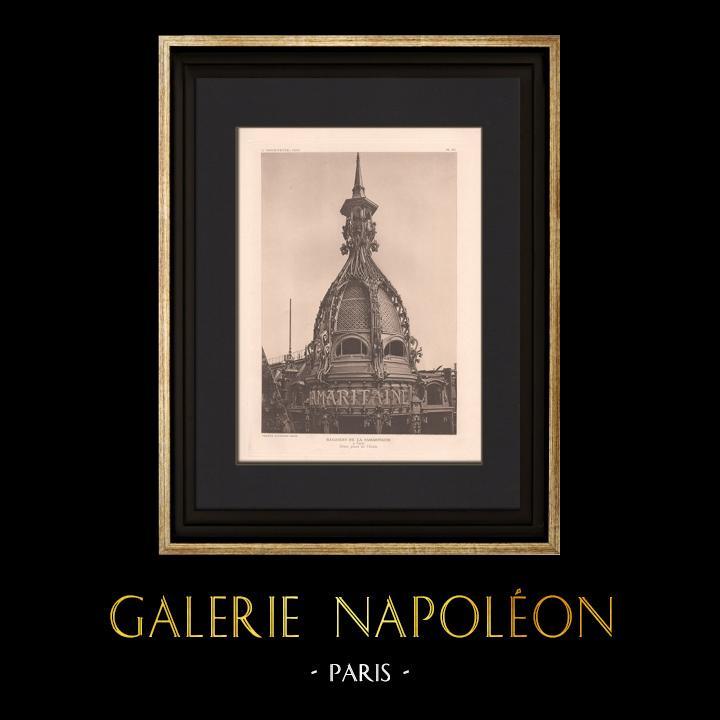 Grabados & Dibujos Antiguos | Arquitectura - La Samaritaine - Cúpula - Gran almacén de Paris (Frantz Jourdain) | Heliograbado | 1907