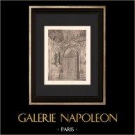 Architecture - Banque de France - Porte de la Galerie Dorée - Hôtel de Toulouse à Paris (Robert de Cotte)   Héliogravure originale d'après Robert de Cotte. 1907