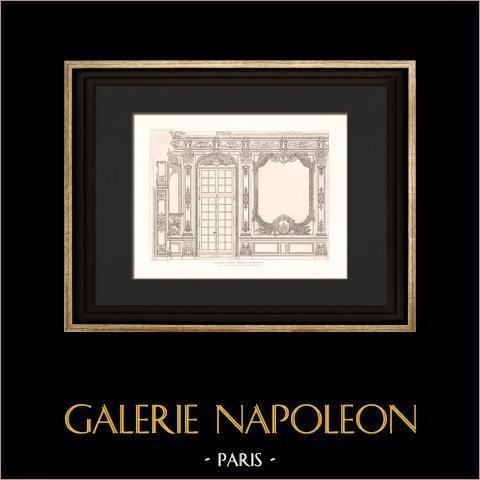 Arkitektur - Banque de France - Galerie Dorée - Hôtel de Toulouse i Paris (Robert de Cotte) | Original heliogravyr efter Dessin de Raulin. 1907