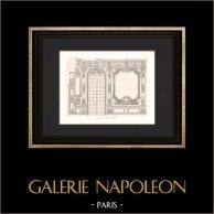 Architecture - Banque de France - Porte de la Galerie Dorée - Hôtel de Toulouse à Paris (Robert de Cotte)   Héliogravure originale d'après Dessin de Raulin. 1907