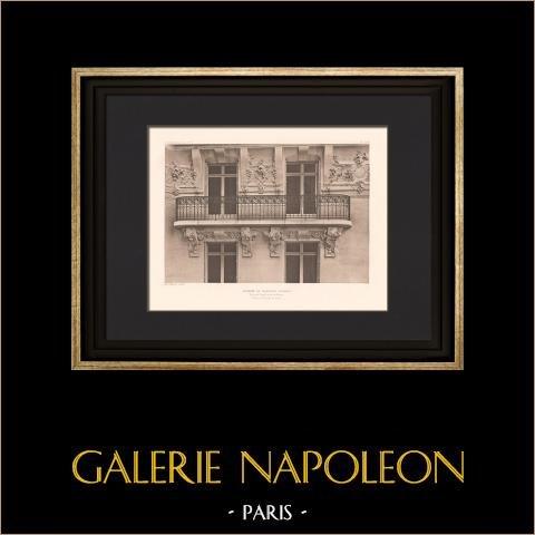 Arquitetura - Casa - Boulevard Raspail em Paris (Chifflot) | Heliogravura original segundo Chifflot. 1907