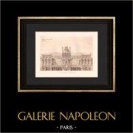 Architecture - Restitution du Château de Meudon - 1690 - Hauts-de-Seine (Lebret) | Héliogravure originale d'après Lebret. 1907