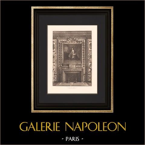 Architecture - Château de Versailles - Cheminée - Salon de Diane  | Héliogravure originale. Anonyme. 1907