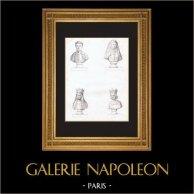 Bustes - Charles d'Artois (1394-1472) - Hélène de Melun (+1473) - Marie d'Anjou (1404-1463) - Charles VII de France (1403-1461) | Gravure originale en taille-douce sur acier. Anonyme. 1846