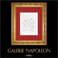 Le Mariage Mystique de Sainte Catherine (Le Parmesan - Parmigianino) | Gravure sur cuivre originale gravée par Reveil. 1844