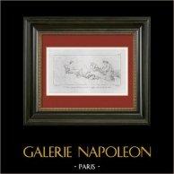 Mitologia - Venere - Cupido - Cerere (Le Sueur) | Incisione su rame originale secondo Le Sueur incisa da Mme Soyer. 1844