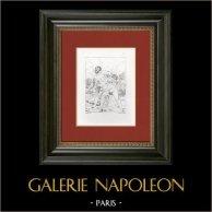 Mythologie - Combat de Hercule et Achéloos (Le Guide - Guido Reni) | Gravure sur cuivre originale d'après Le Guide gravée par Normand. 1844