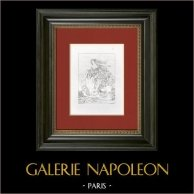 Mitologia - Rapimento di Deianira (Guido Reni)  | Incisione su rame originale secondo Le Guide incisa da Normand. 1844