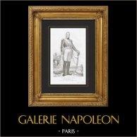 Portrait de Edouard Mortier (1768-1835) - Maréchal d'Empire et Général de Napoléon | Gravure originale en taille-douce sur acier dessinée par Raynaud d'après Larivière, gravée par Ruhierre. 1835