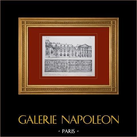 Palácio de Versalhes - Cour Royale - Détails des balcons | Heliogravura em sépia original. Anónima. 1911