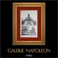 Château de Versailles - Chapelle - Pignon et détails du comble   Héliogravure originale. Anonyme. 1911