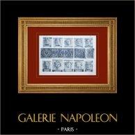 Palace of Versailles - Façade sur les Jardins - Balcon de l'appartement du Dauphin - Mascarons | Original sepia toned heliogravure. Anonymous. 1911