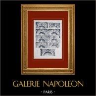 Château de Versailles - Façade sur les Jardins - Dessus de fenêtres   Héliogravure originale. Anonyme. 1911