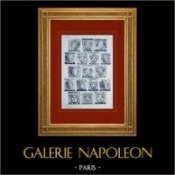 Palace of Versailles - Façade sur les Jardins - Mascarons | Original sepia toned heliogravure. Anonymous. 1911