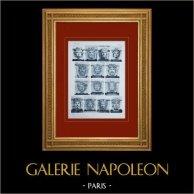 Palace of Versailles - Façade sur les Jardins - Aile sud - Mascarons | Original sepia toned heliogravure. Anonymous. 1911