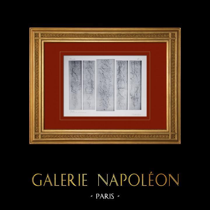 Gravures Anciennes & Dessins | Château de Versailles - Chapelle - Bas-reliefs des piliers de la nef | Héliogravure | 1911