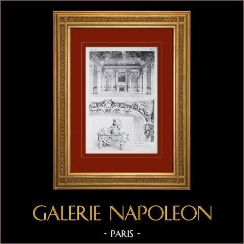Slottet i Versailles - Salon d'Hercule - Cheminée (Vassé) | Original heliogravyr sepia. Anonymt. 1911